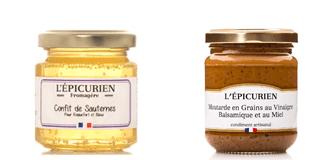 LArge choix de moutardes et de confits